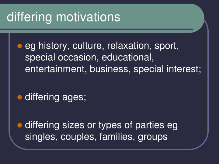 differing motivations