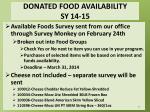 donated food availability sy 14 15