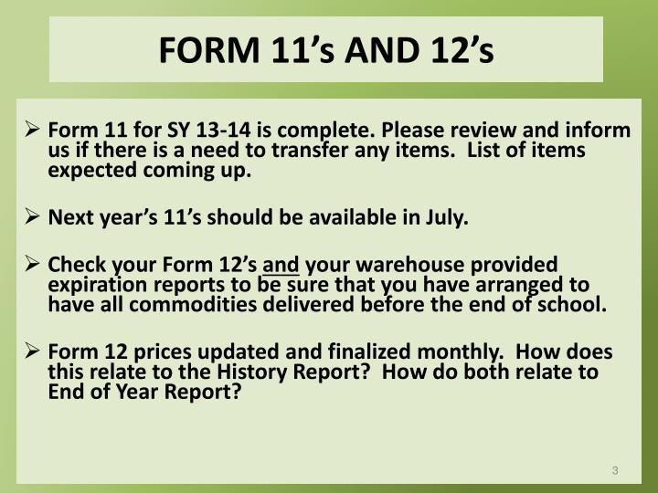 Form 11 s and 12 s