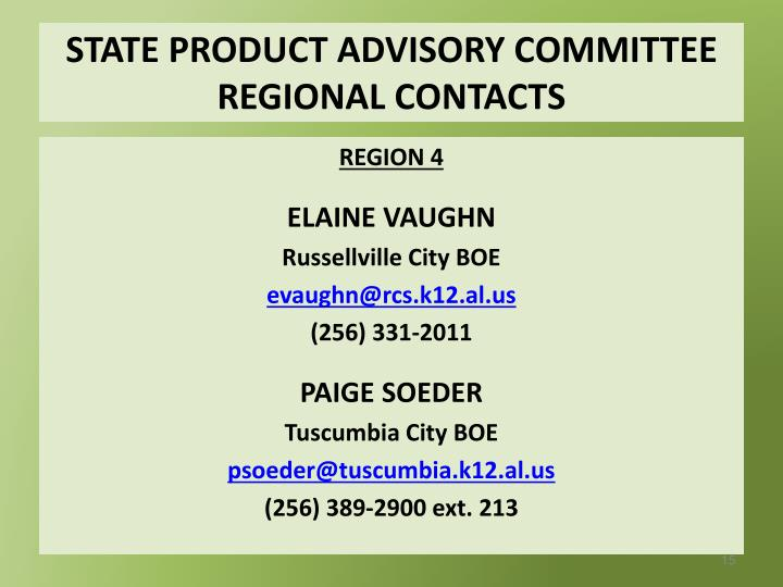 STATE PRODUCT ADVISORY COMMITTEE