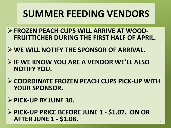 SUMMER FEEDING VENDORS