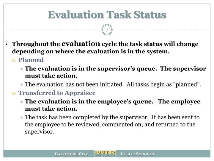 Evaluation Task Status