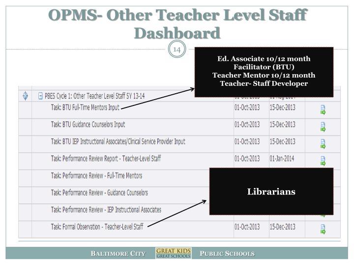 OPMS- Other Teacher Level Staff Dashboard