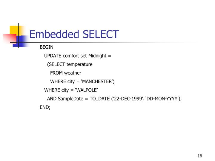 Embedded SELECT