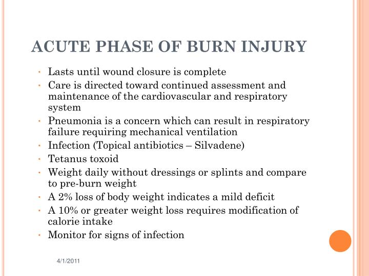 ACUTE PHASE OF BURN INJURY