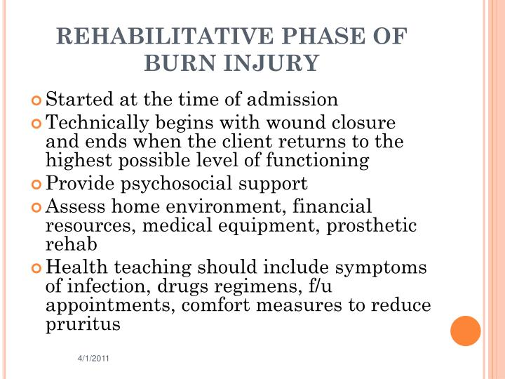 REHABILITATIVE PHASE OF BURN INJURY