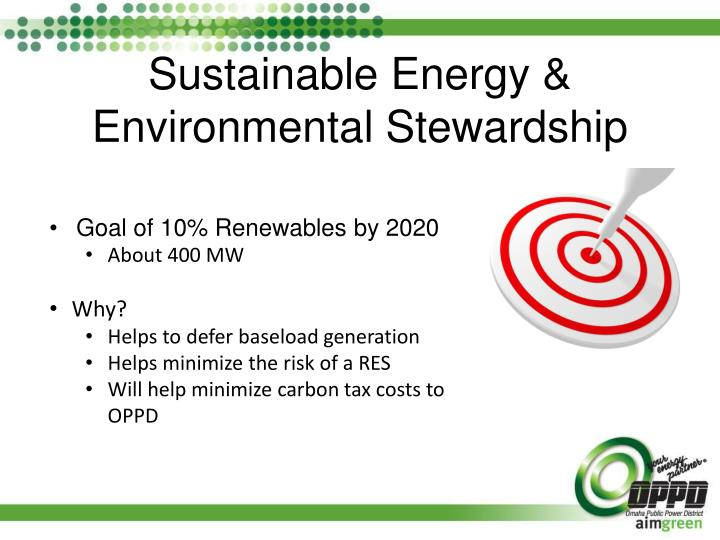 Sustainable energy environmental stewardship