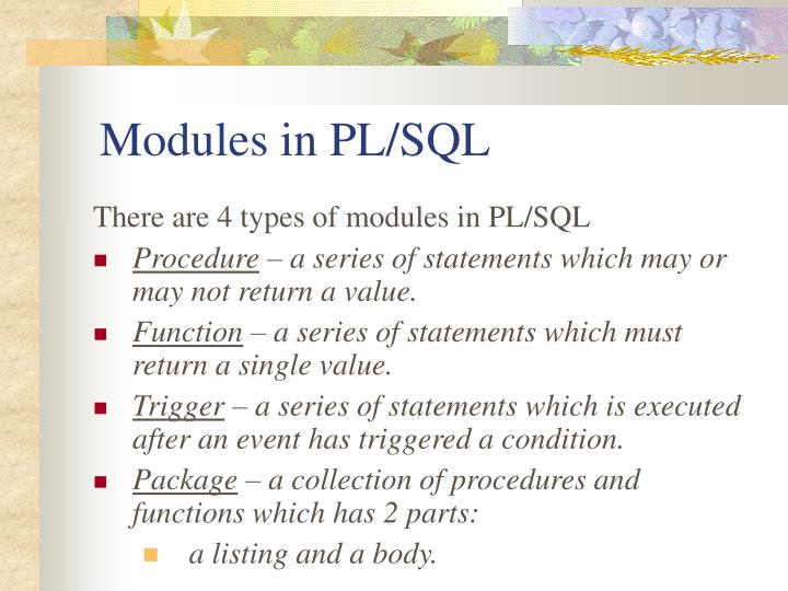 Modules in PL/SQL
