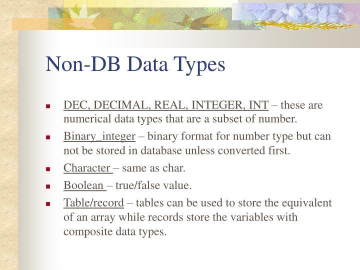 Non-DB Data Types