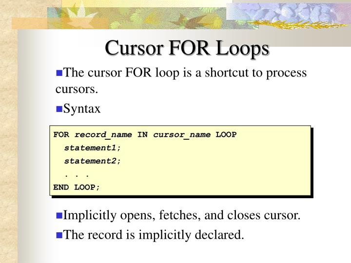 Cursor FOR Loops