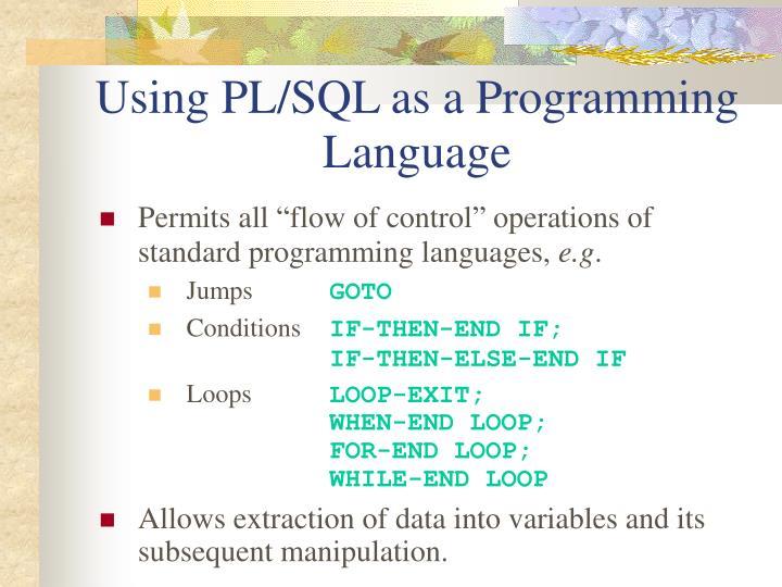 Using PL/SQL as a Programming Language