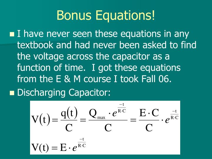 Bonus Equations!