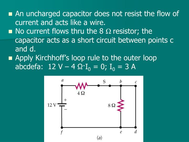 An uncharged capacitor does not resist the flow of current and acts like a wire.