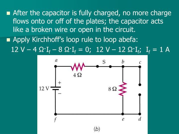 After the capacitor is fully charged, no more charge flows onto or off of the plates; the capacitor acts like a broken wire or open in the circuit.