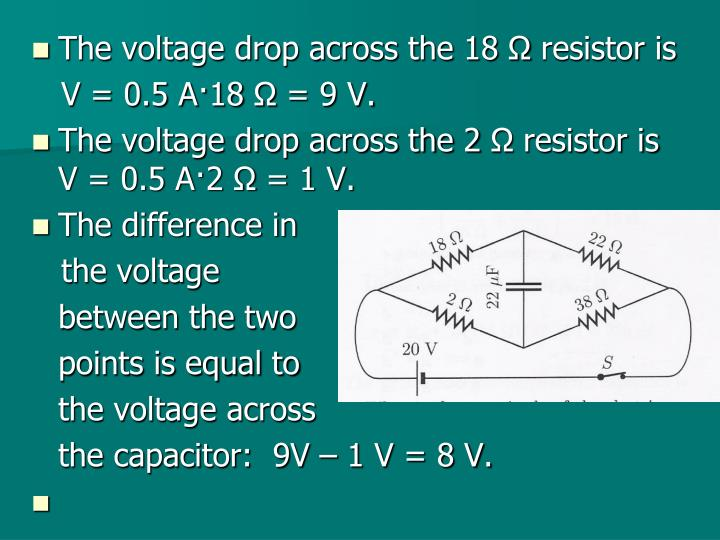 The voltage drop across the 18