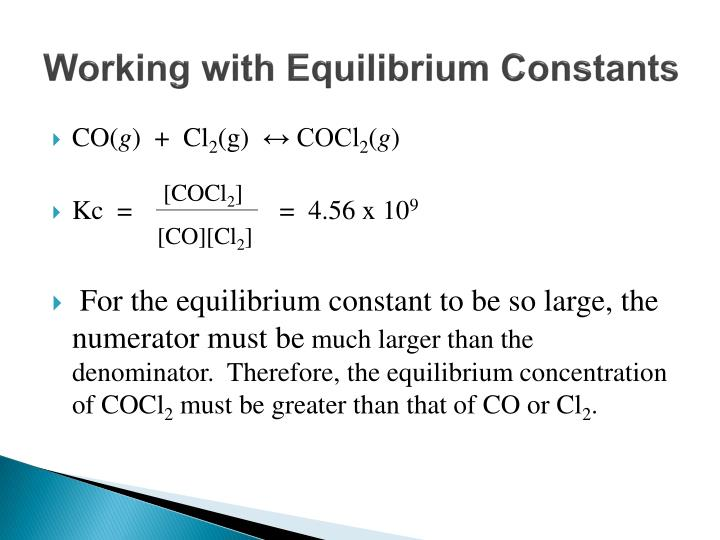 Working with Equilibrium Constants