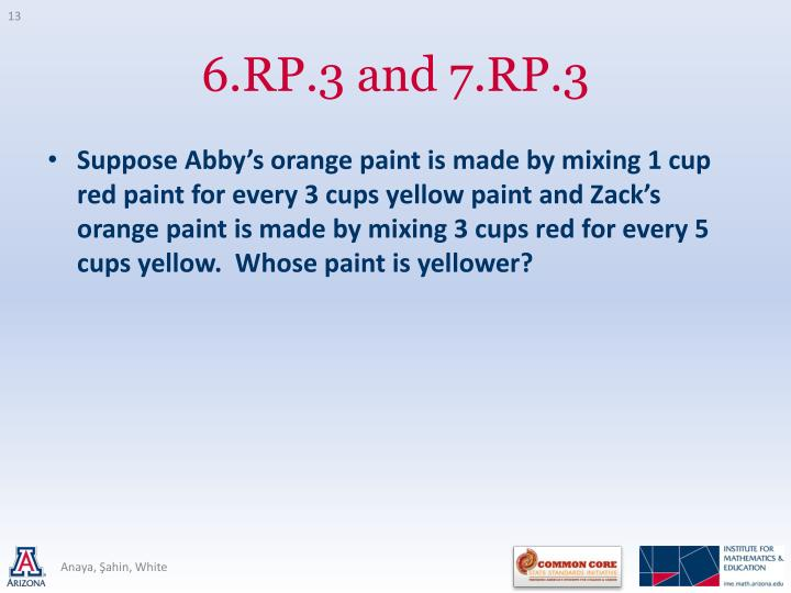 Suppose Abby's orange paint is made by mixing 1 cup red paint for every 3 cups yellow paint and Zack's orange paint is made by mixing 3 cups red for every 5 cups yellow.  Whose paint is yellower?
