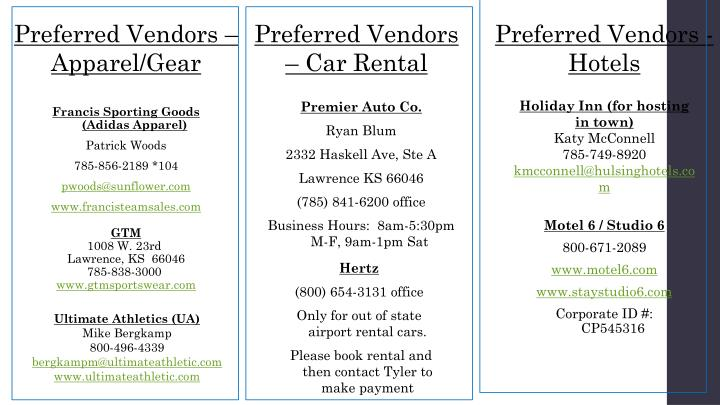 Preferred Vendors – Apparel/Gear