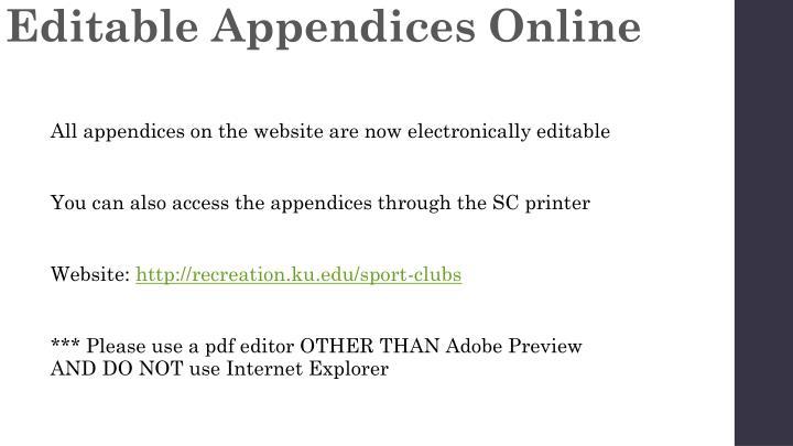 Editable Appendices Online