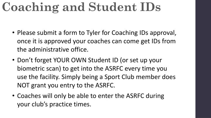 Coaching and Student IDs