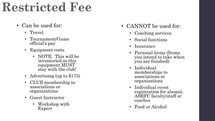 Restricted Fee