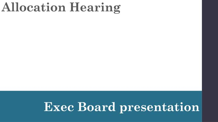 Allocation Hearing