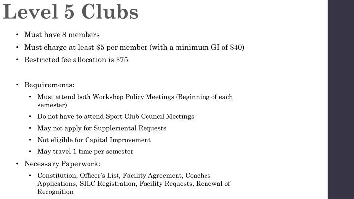 Level 5 Clubs