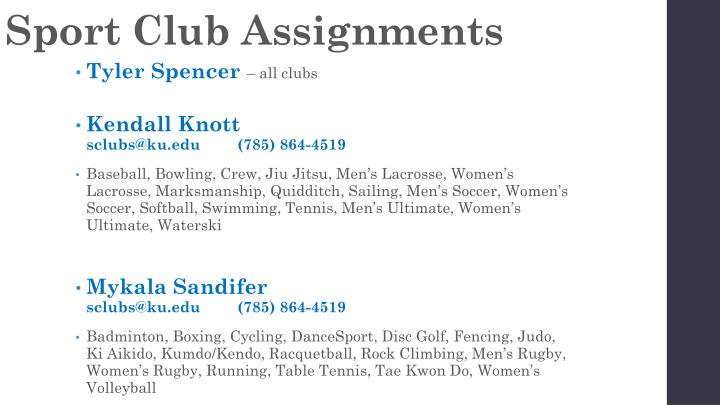 Sport club assignments