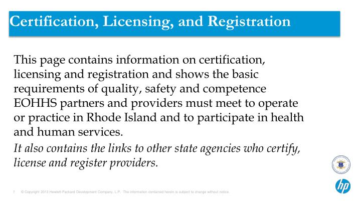 Certification, Licensing, and Registration