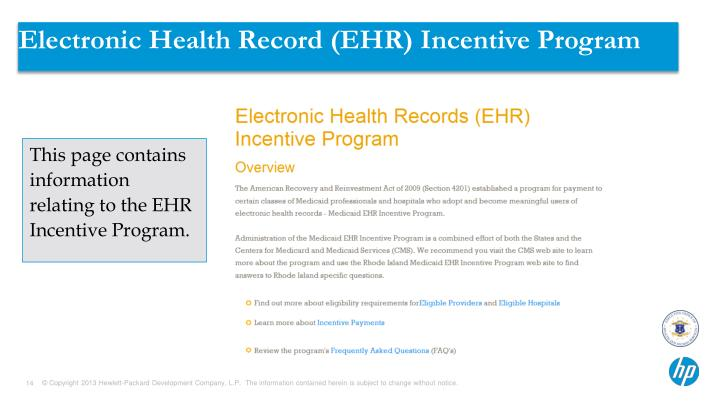 Electronic Health Record (EHR) Incentive Program