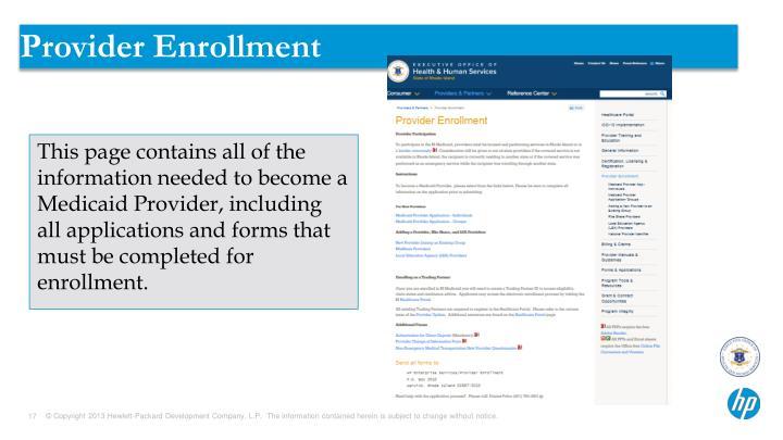 Provider Enrollment