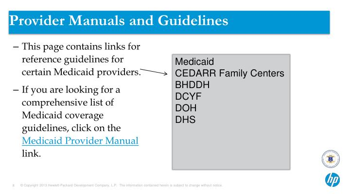 Provider Manuals and Guidelines