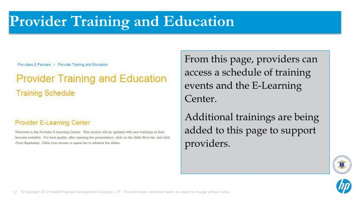 Provider Training and Education
