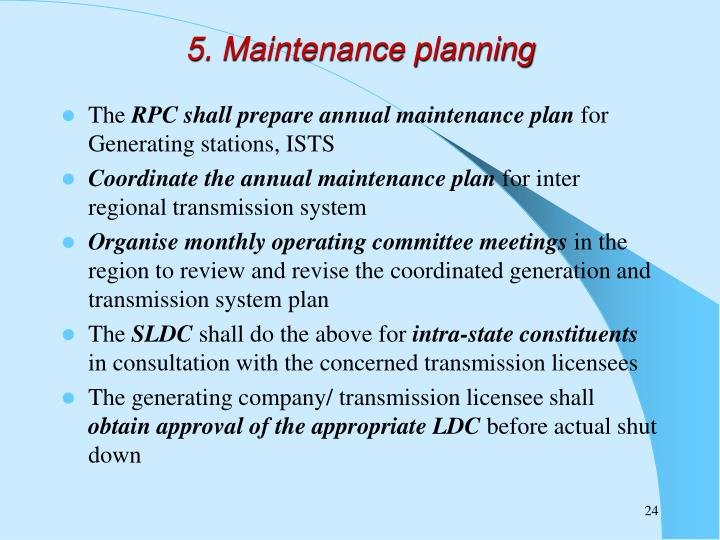 5. Maintenance planning