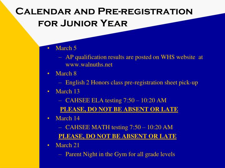 Calendar and pre registration for junior year1