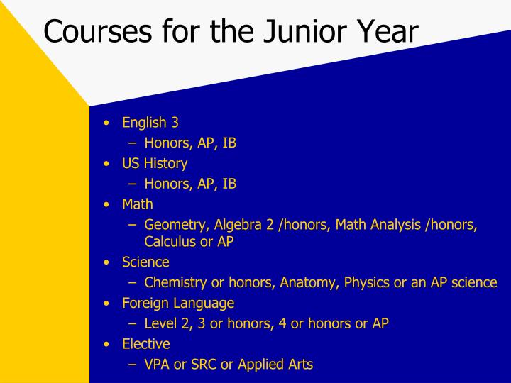 Courses for the Junior Year