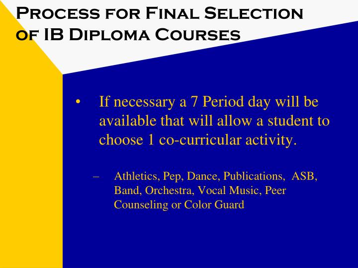 Process for Final Selection of IB Diploma Courses