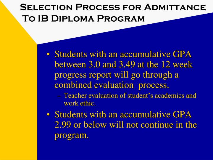 Selection Process for Admittance