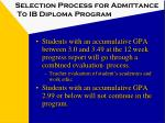 selection process for admittance to ib diploma program