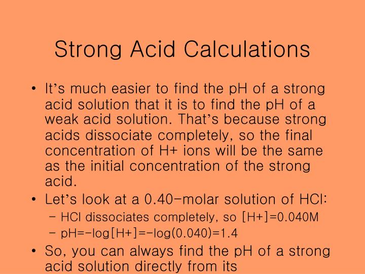 Strong Acid Calculations