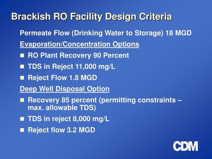 Brackish RO Facility Design Criteria