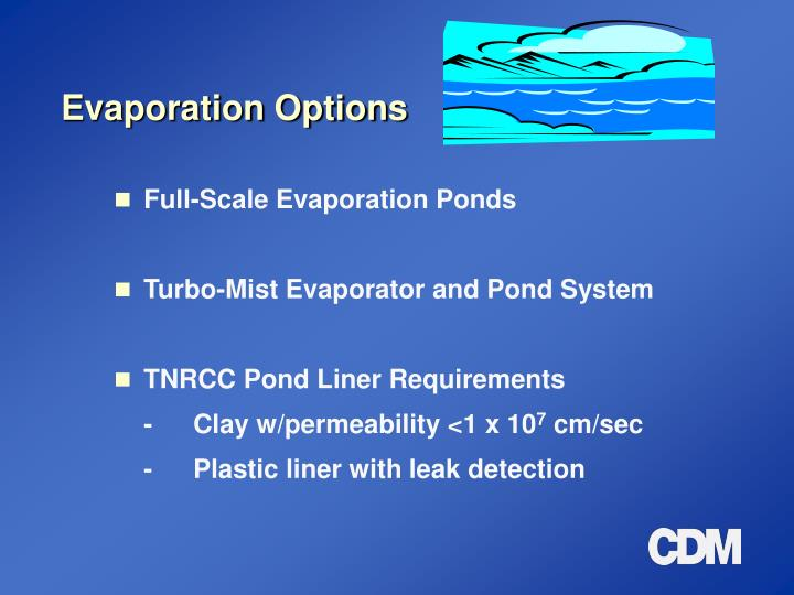 Evaporation Options