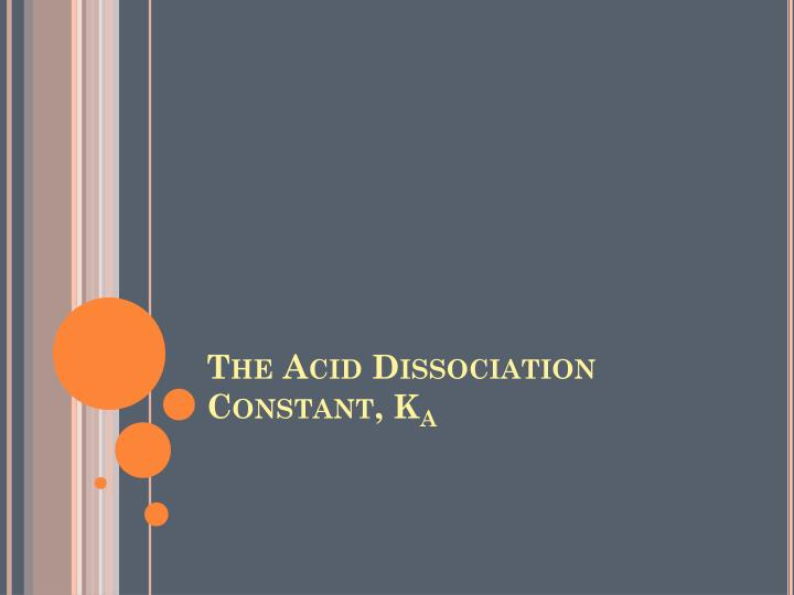 The acid dissociation constant k a