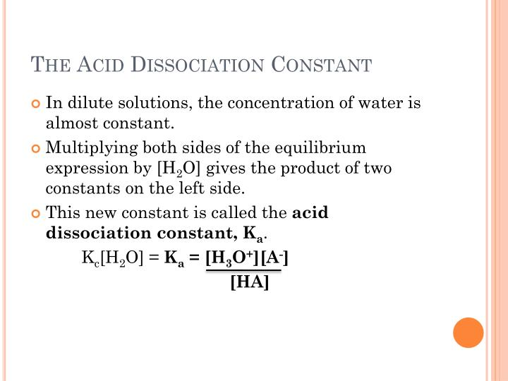 The Acid Dissociation Constant