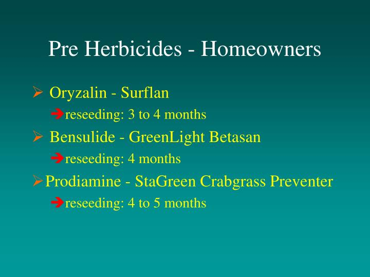 Pre Herbicides - Homeowners