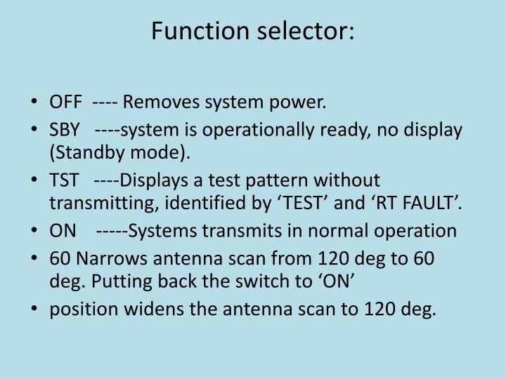 Function selector: