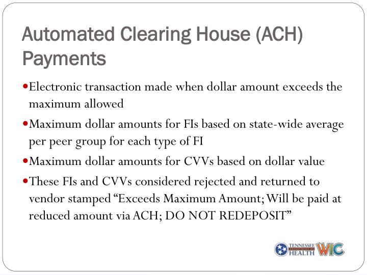 Automated Clearing House (ACH) Payments
