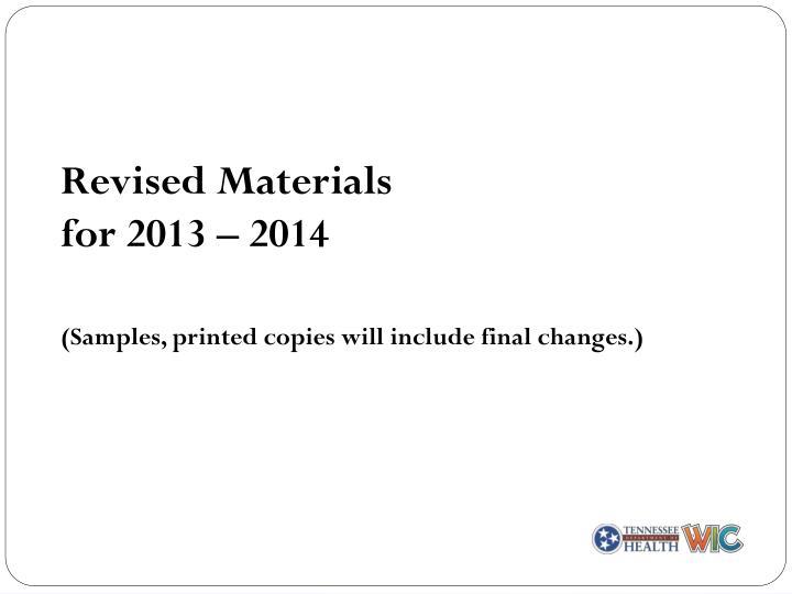 Revised Materials