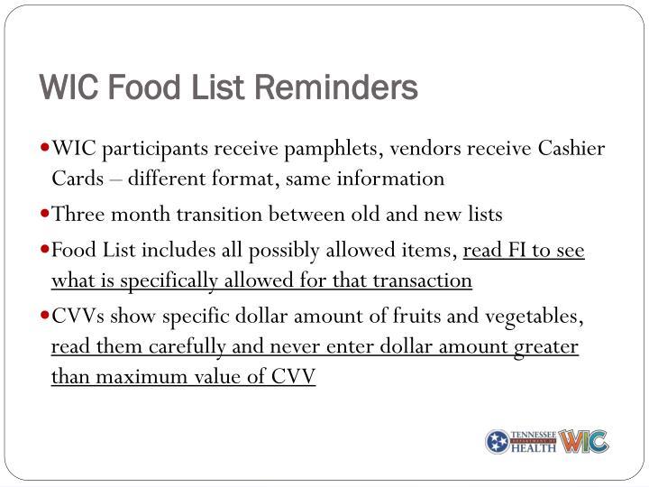 WIC Food List Reminders
