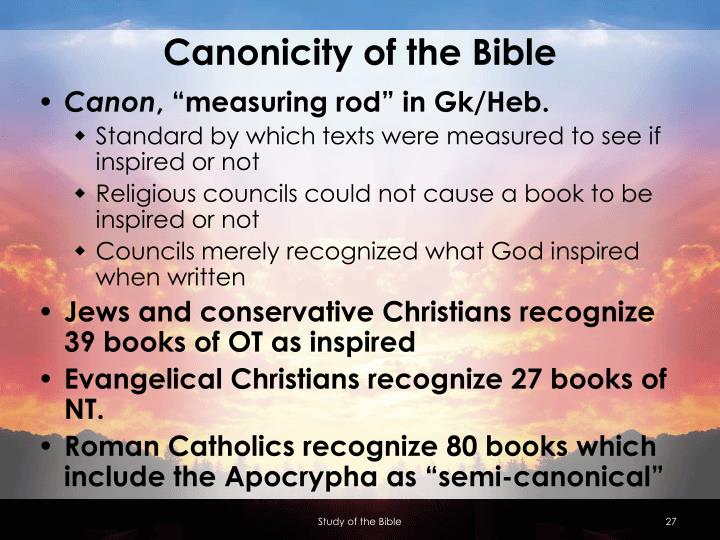 Canonicity of the Bible
